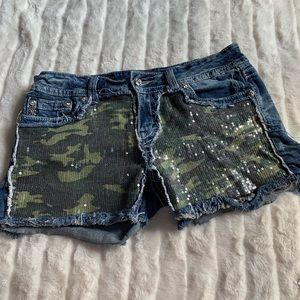 Miss Me jean shorts sequin camo distressed